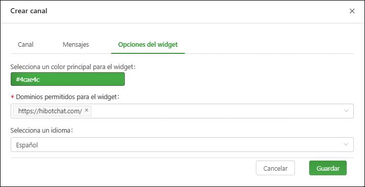 Opciones del widget